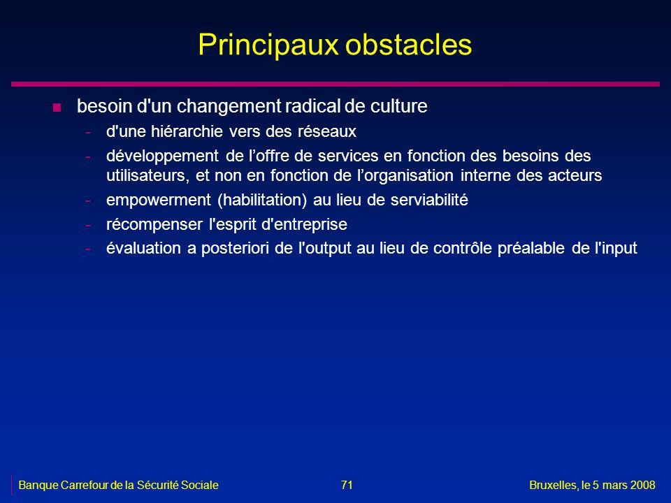 Banque Carrefour de la Sécurité SocialeBruxelles, le 5 mars 2008 71 Principaux obstacles n besoin d'un changement radical de culture -d'une hiérarchie