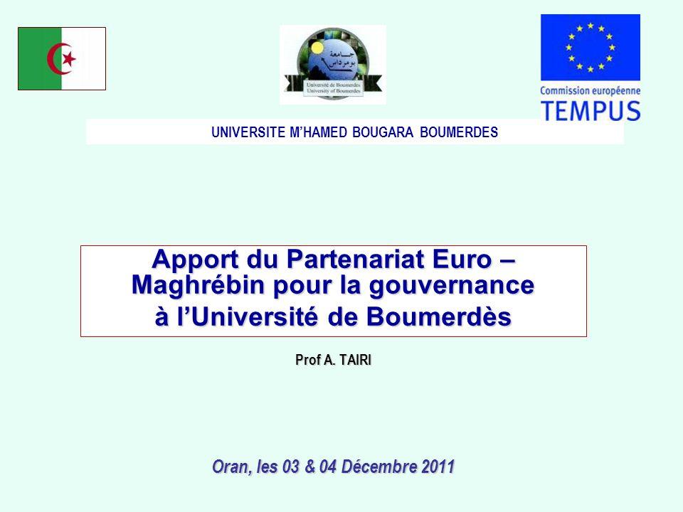 Apport du Partenariat Euro – Maghrébin pour la gouvernance à lUniversité de Boumerdès Prof A.