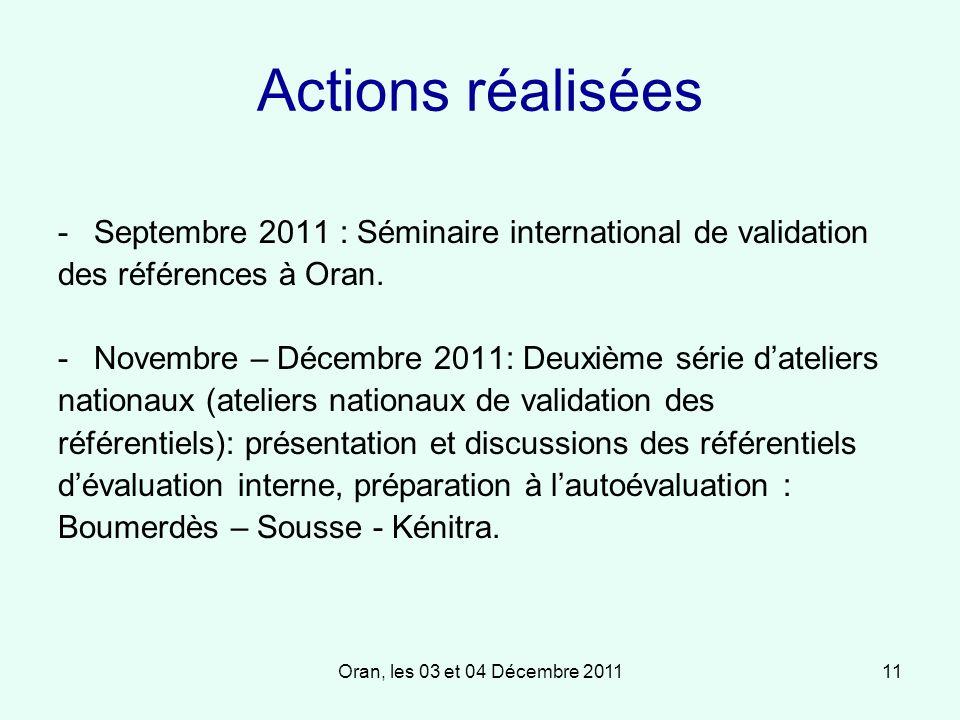 Oran, les 03 et 04 Décembre 201111 Actions réalisées -Septembre 2011 : Séminaire international de validation des références à Oran.