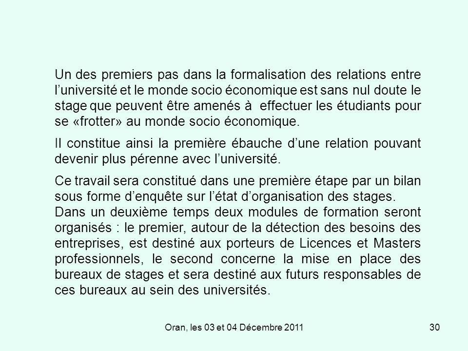 Oran, les 03 et 04 Décembre 201130 Un des premiers pas dans la formalisation des relations entre luniversité et le monde socio économique est sans nul doute le stage que peuvent être amenés à effectuer les étudiants pour se «frotter» au monde socio économique.
