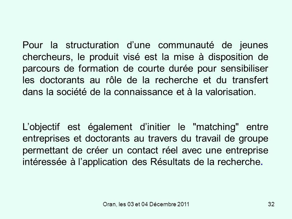 Oran, les 03 et 04 Décembre 201132 Pour la structuration dune communauté de jeunes chercheurs, le produit visé est la mise à disposition de parcours de formation de courte durée pour sensibiliser les doctorants au rôle de la recherche et du transfert dans la société de la connaissance et à la valorisation.