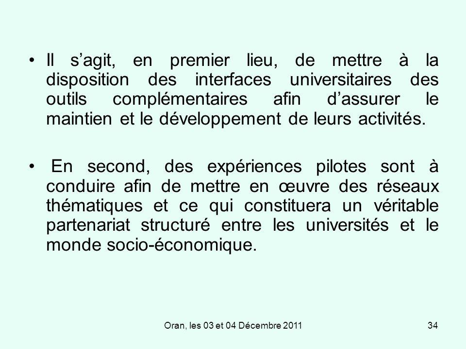 Oran, les 03 et 04 Décembre 201134 Il sagit, en premier lieu, de mettre à la disposition des interfaces universitaires des outils complémentaires afin dassurer le maintien et le développement de leurs activités.