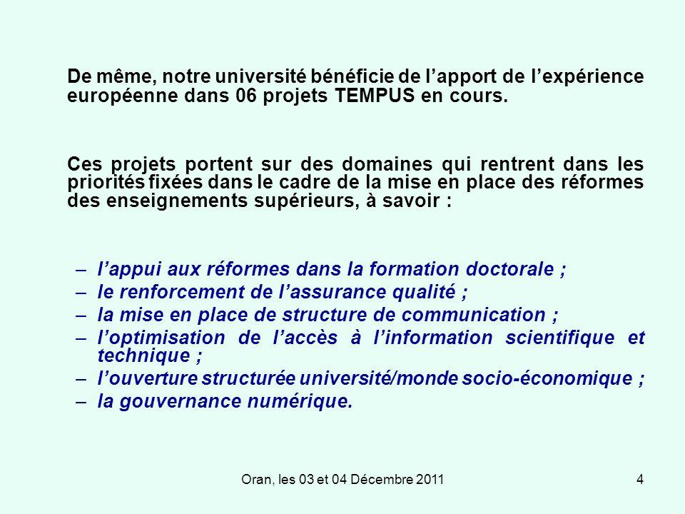 Oran, les 03 et 04 Décembre 20114 De même, notre université bénéficie de lapport de lexpérience européenne dans 06 projets TEMPUS en cours.