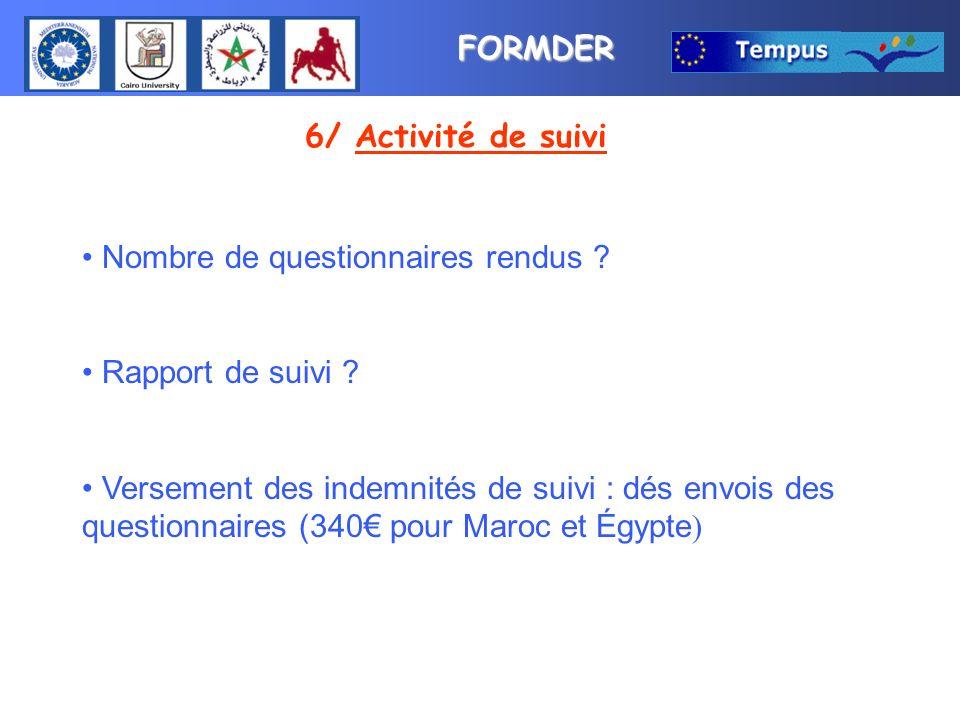 FORMDER 6/ Activité de suivi Nombre de questionnaires rendus .