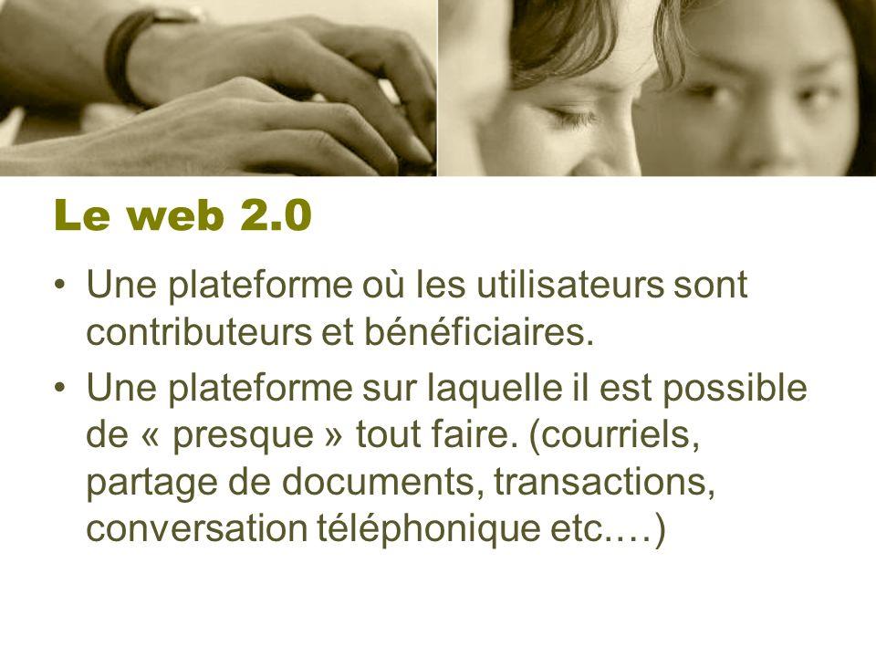 Le web 2.0 Une plateforme où les utilisateurs sont contributeurs et bénéficiaires. Une plateforme sur laquelle il est possible de « presque » tout fai