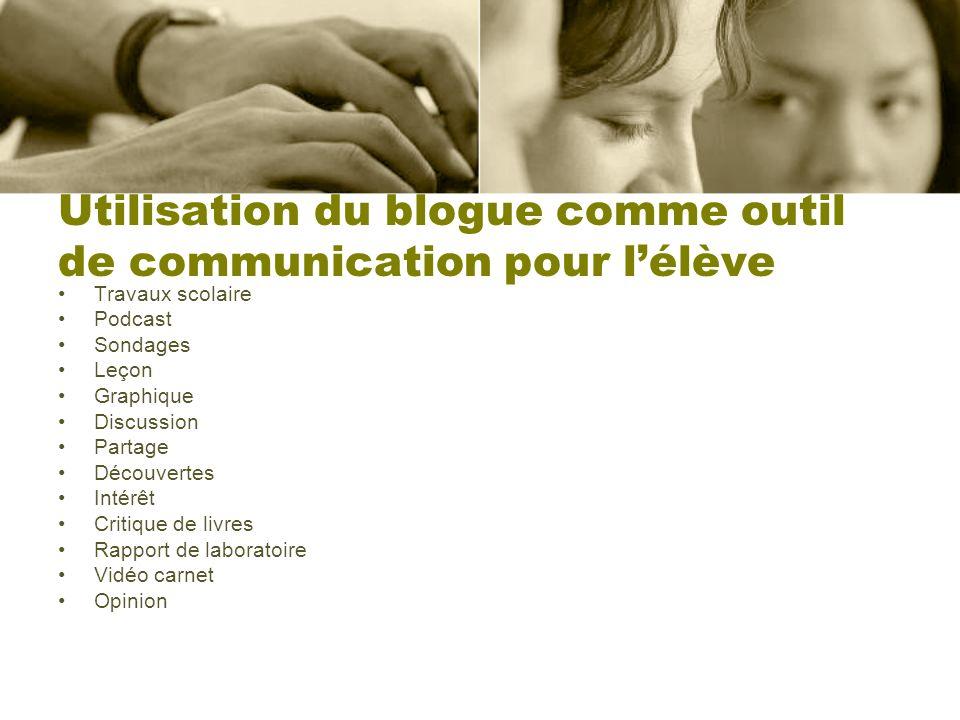 Utilisation du blogue comme outil de communication pour lélève Travaux scolaire Podcast Sondages Leçon Graphique Discussion Partage Découvertes Intérê