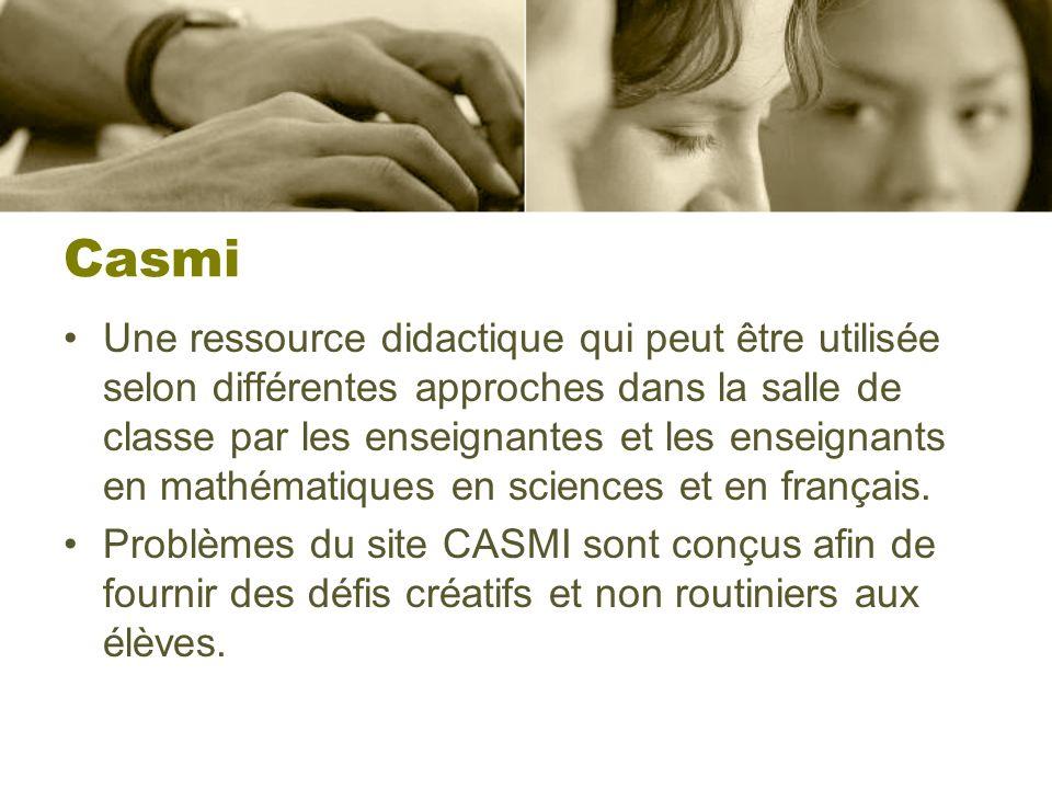 Casmi Une ressource didactique qui peut être utilisée selon différentes approches dans la salle de classe par les enseignantes et les enseignants en mathématiques en sciences et en français.