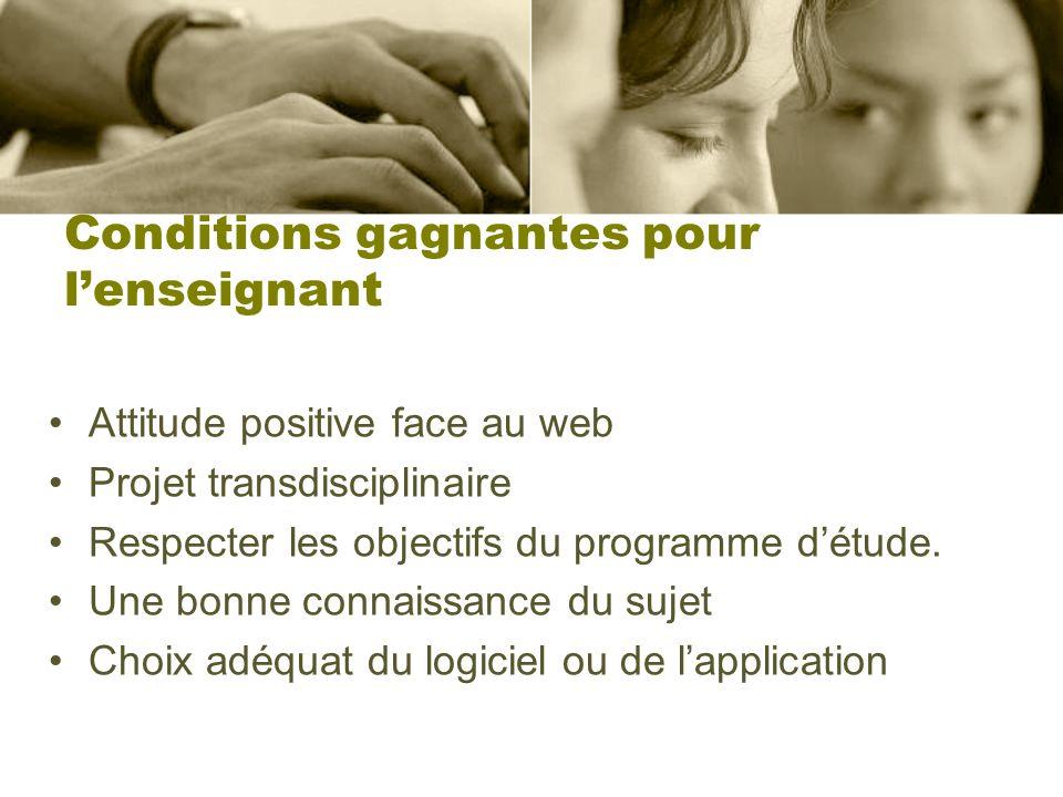 Conditions gagnantes pour lenseignant Attitude positive face au web Projet transdisciplinaire Respecter les objectifs du programme détude.