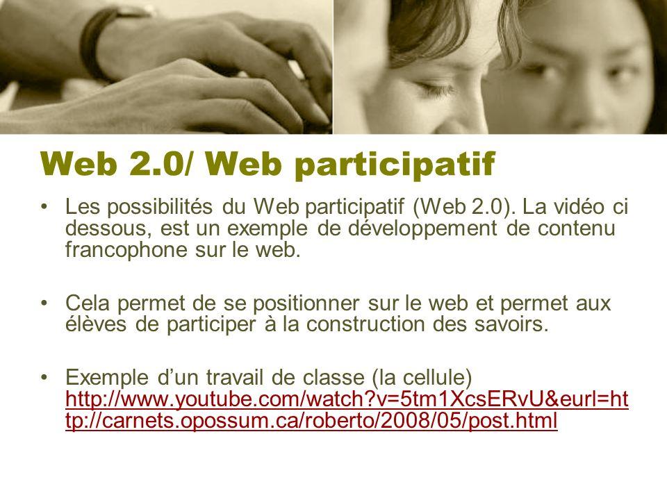 Web 2.0/ Web participatif Les possibilités du Web participatif (Web 2.0). La vidéo ci dessous, est un exemple de développement de contenu francophone