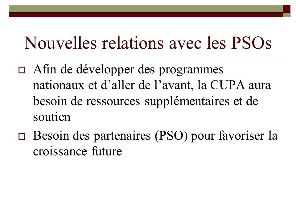 Nouvelles relations avec les PSOs Afin de développer des programmes nationaux et daller de lavant, la CUPA aura besoin de ressources supplémentaires e