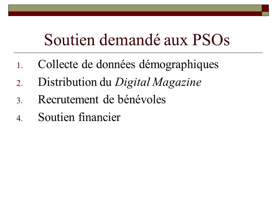 Soutien demandé aux PSOs 1. Collecte de données démographiques 2. Distribution du Digital Magazine 3. Recrutement de bénévoles 4. Soutien financier