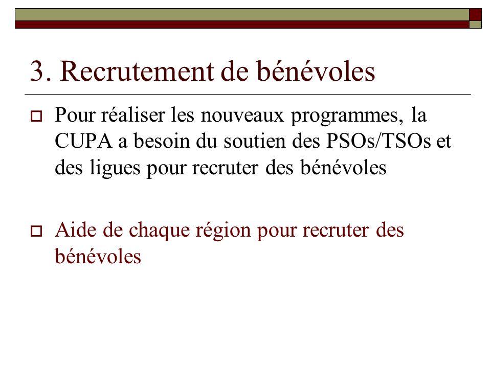 3. Recrutement de bénévoles Pour réaliser les nouveaux programmes, la CUPA a besoin du soutien des PSOs/TSOs et des ligues pour recruter des bénévoles