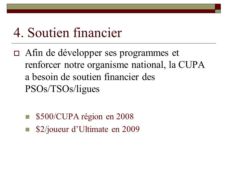 4. Soutien financier Afin de développer ses programmes et renforcer notre organisme national, la CUPA a besoin de soutien financier des PSOs/TSOs/ligu