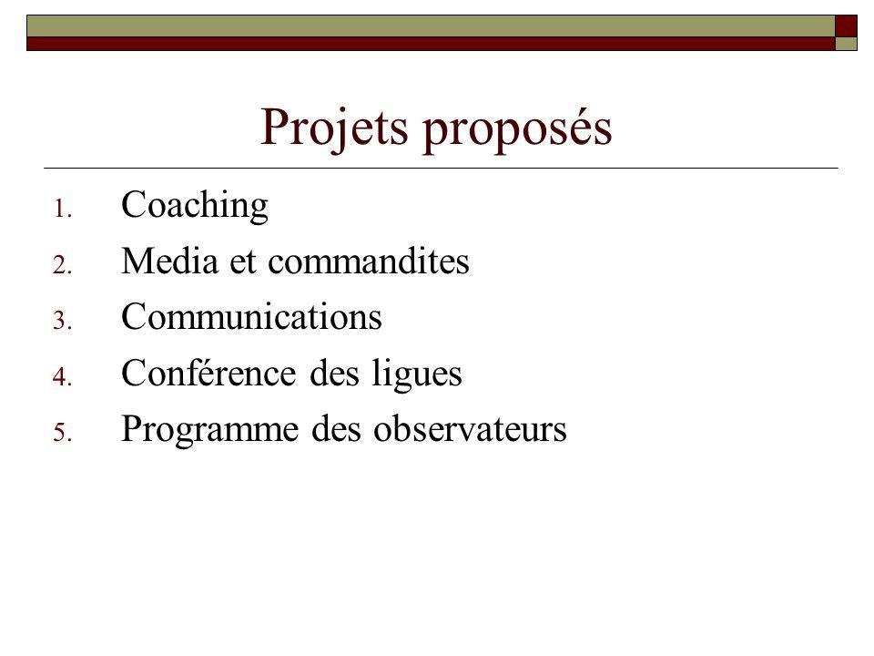 Projets proposés 1. Coaching 2. Media et commandites 3. Communications 4. Conférence des ligues 5. Programme des observateurs