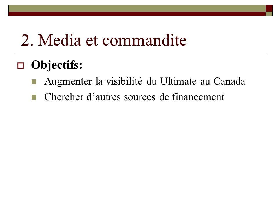 2. Media et commandite Objectifs: Augmenter la visibilité du Ultimate au Canada Chercher dautres sources de financement