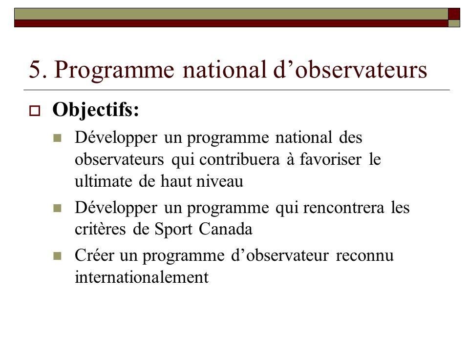 5. Programme national dobservateurs Objectifs: Développer un programme national des observateurs qui contribuera à favoriser le ultimate de haut nivea