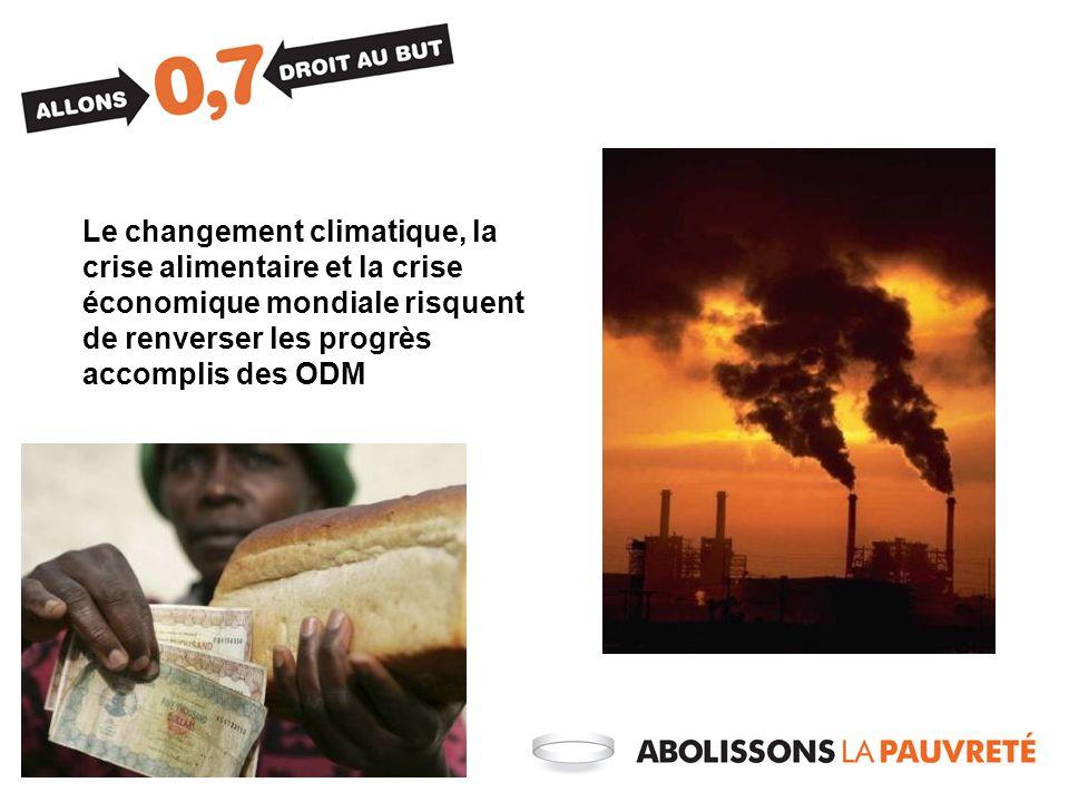 Le changement climatique, la crise alimentaire et la crise économique mondiale risquent de renverser les progrès accomplis des ODM