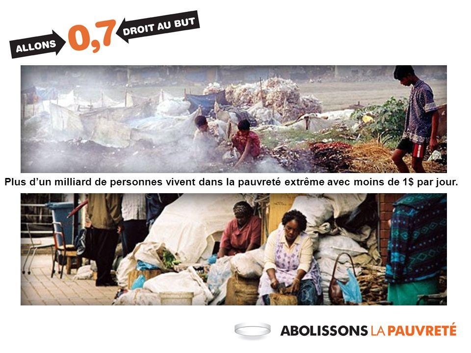 Plus dun milliard de personnes vivent dans la pauvreté extrême avec moins de 1$ par jour.
