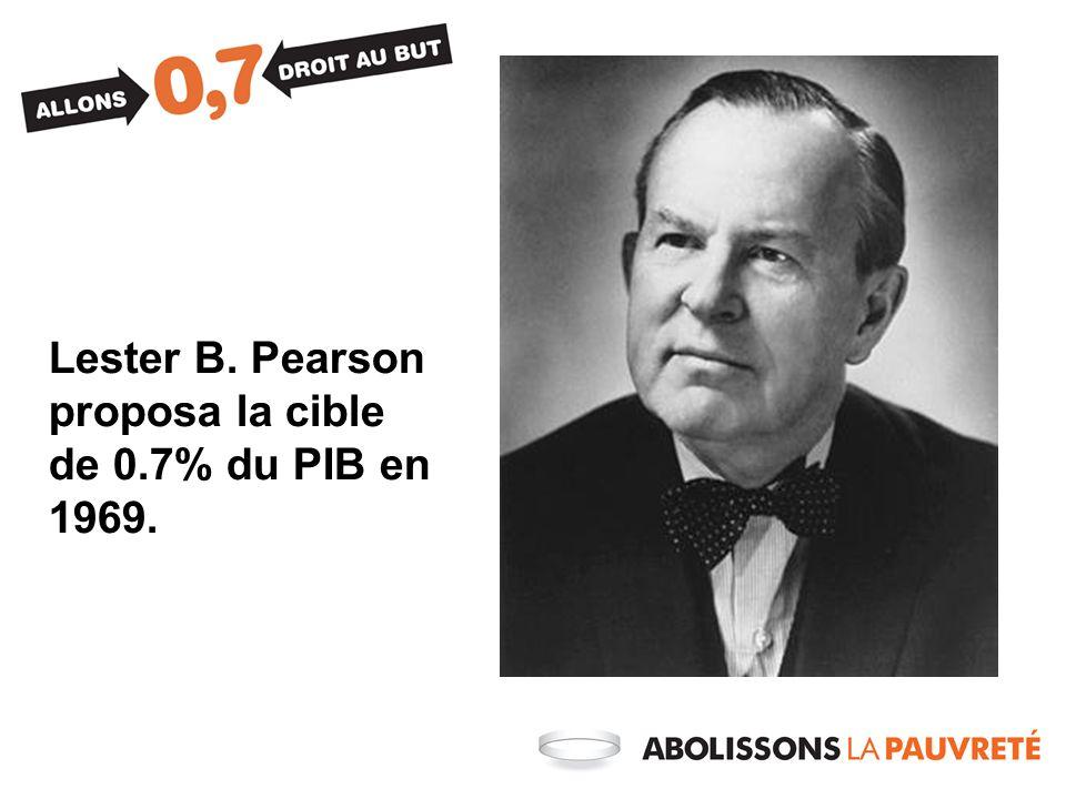 Lester B. Pearson proposa la cible de 0.7% du PIB en 1969.