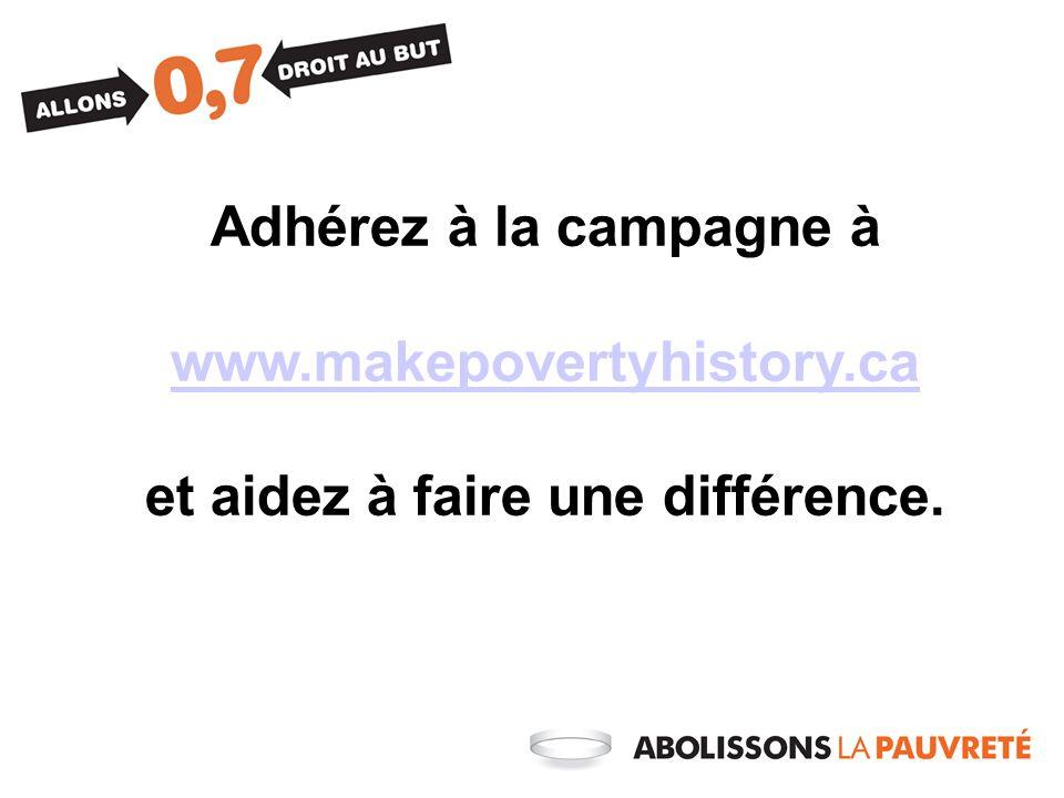 Adhérez à la campagne à www.makepovertyhistory.ca et aidez à faire une différence.