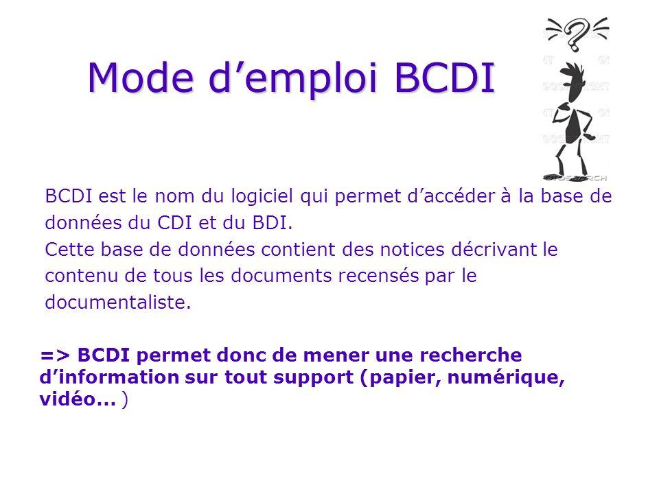 Mode demploi BCDI BCDI est le nom du logiciel qui permet daccéder à la base de données du CDI et du BDI. Cette base de données contient des notices dé