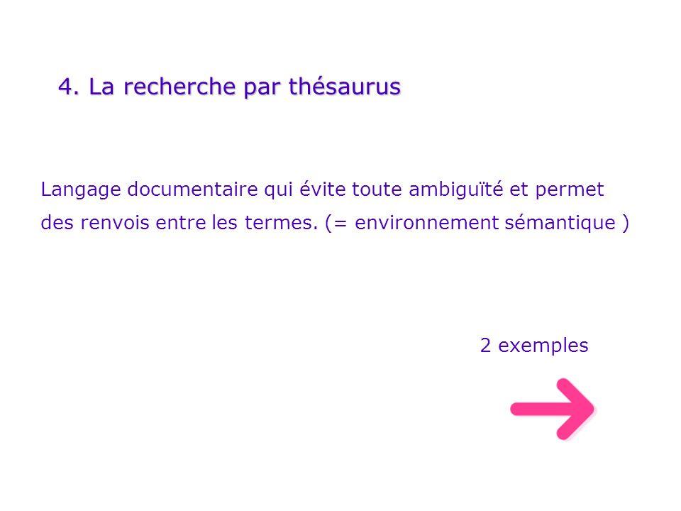 4. La recherche par thésaurus Langage documentaire qui évite toute ambiguïté et permet des renvois entre les termes. (= environnement sémantique ) 2 e