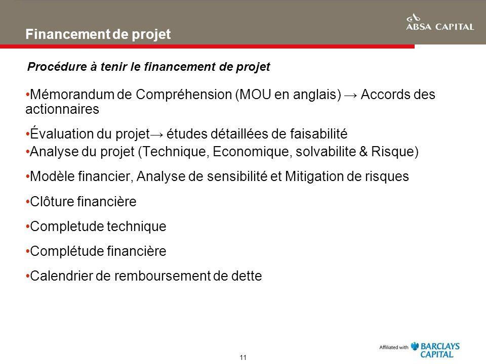 11 Financement de projet Mémorandum de Compréhension (MOU en anglais) Accords des actionnaires Évaluation du projet études détaillées de faisabilité A