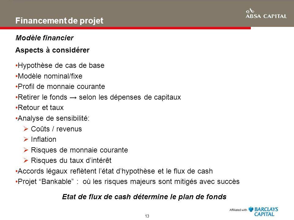 13 Financement de projet Aspects à considérer Hypothèse de cas de base Modèle nominal/fixe Profil de monnaie courante Retirer le fonds selon les dépen