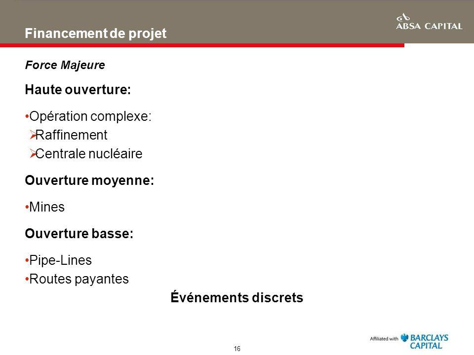 16 Financement de projet Haute ouverture: Opération complexe: Raffinement Centrale nucléaire Ouverture moyenne: Mines Ouverture basse: Pipe-Lines Rout