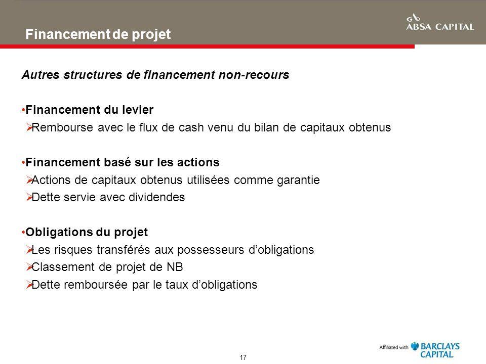 17 Financement de projet Autres structures de financement non-recours Financement du levier Rembourse avec le flux de cash venu du bilan de capitaux o