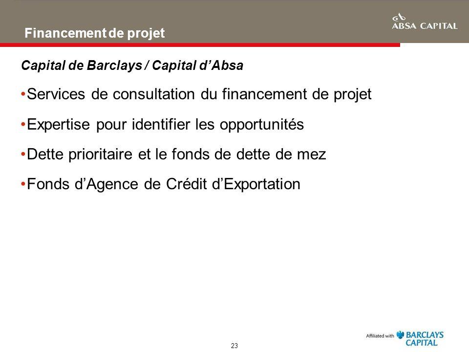 23 Financement de projet Capital de Barclays / Capital dAbsa Services de consultation du financement de projet Expertise pour identifier les opportuni