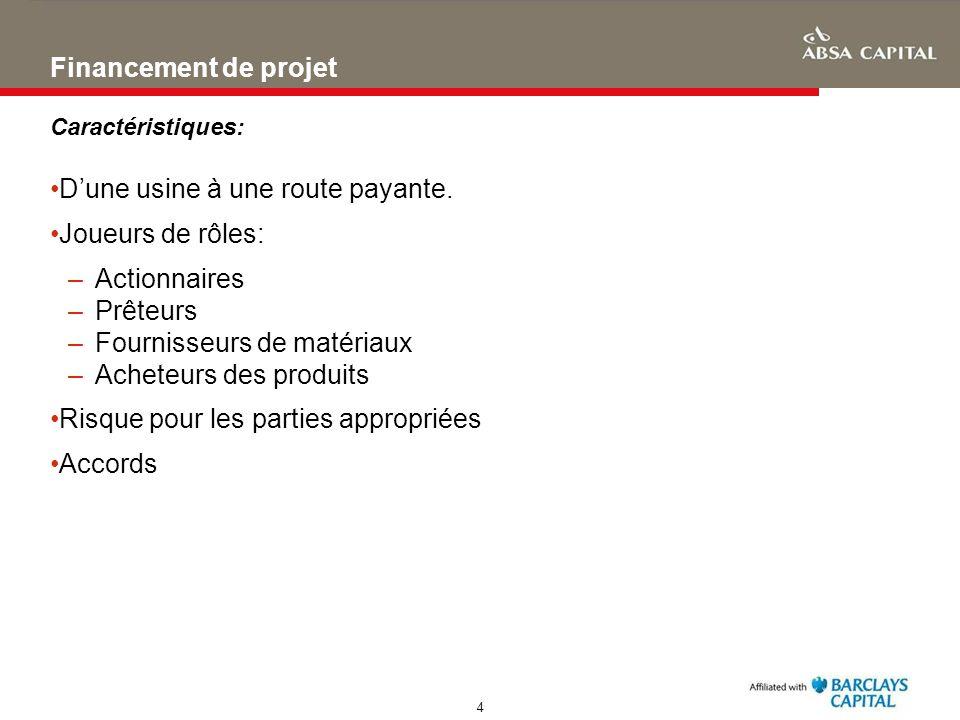 4 Financement de projet Caractéristiques: Dune usine à une route payante. Joueurs de rôles: –Actionnaires –Prêteurs –Fournisseurs de matériaux –Achete