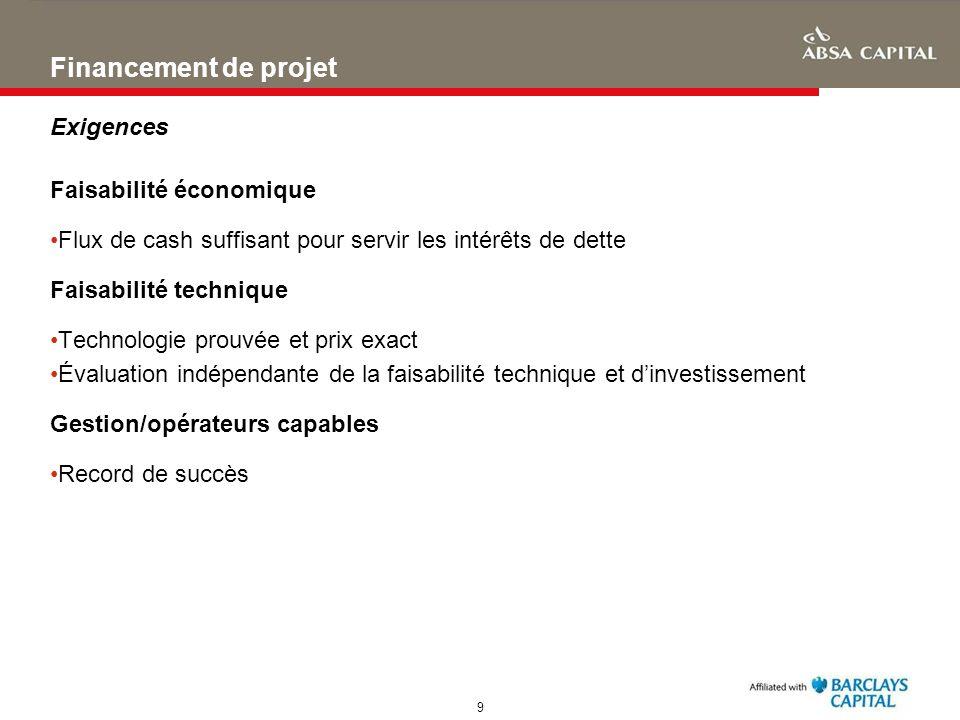 9 Financement de projet Exigences Faisabilité économique Flux de cash suffisant pour servir les intérêts de dette Faisabilité technique Technologie pr