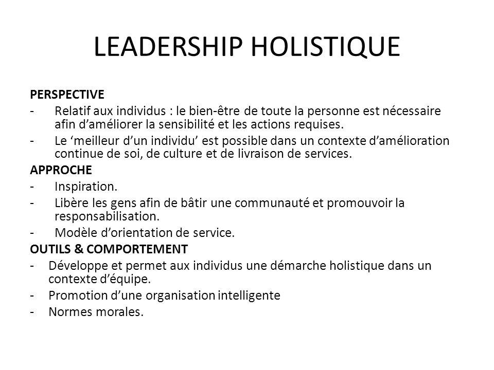 LEADERSHIP HOLISTIQUE PERSPECTIVE -Relatif aux individus : le bien-être de toute la personne est nécessaire afin daméliorer la sensibilité et les acti