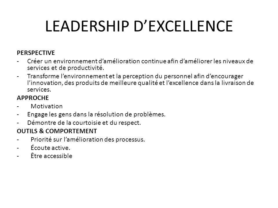 LEADERSHIP DEXCELLENCE PERSPECTIVE -Créer un environnement damélioration continue afin daméliorer les niveaux de services et de productivité. -Transfo