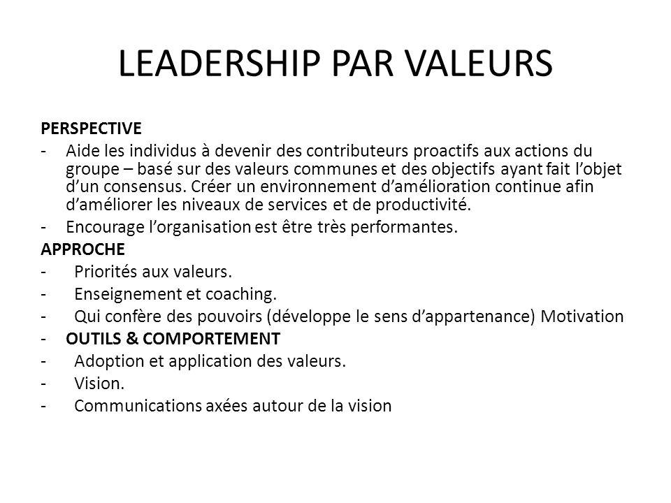 LEADERSHIP PAR VALEURS PERSPECTIVE -Aide les individus à devenir des contributeurs proactifs aux actions du groupe – basé sur des valeurs communes et