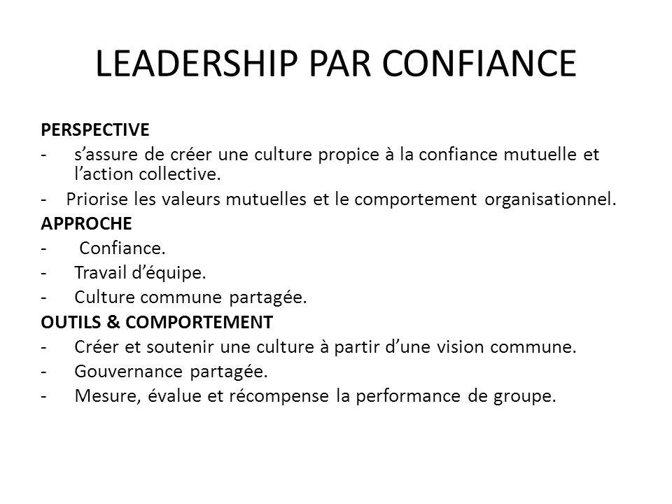 LEADERSHIP PAR CONFIANCE PERSPECTIVE -sassure de créer une culture propice à la confiance mutuelle et laction collective. -Priorise les valeurs mutuel