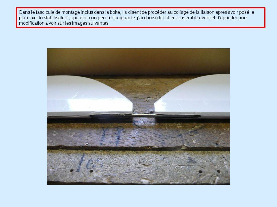 Dans le fascicule de montage inclus dans la boite, ils disent de procéder au collage de la liaison après avoir posé le plan fixe du stabilisateur, opération un peu contraignante, jai choisi de coller lensemble avant et dapporter une modification a voir sur les images suivantes
