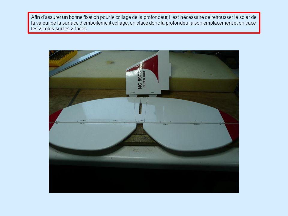 Afin dassurer un bonne fixation pour le collage de la profondeur, il est nécessaire de retrousser le solar de la valeur de la surface demboitement collage, on place donc la profondeur a son emplacement et on trace les 2 côtés sur les 2 faces