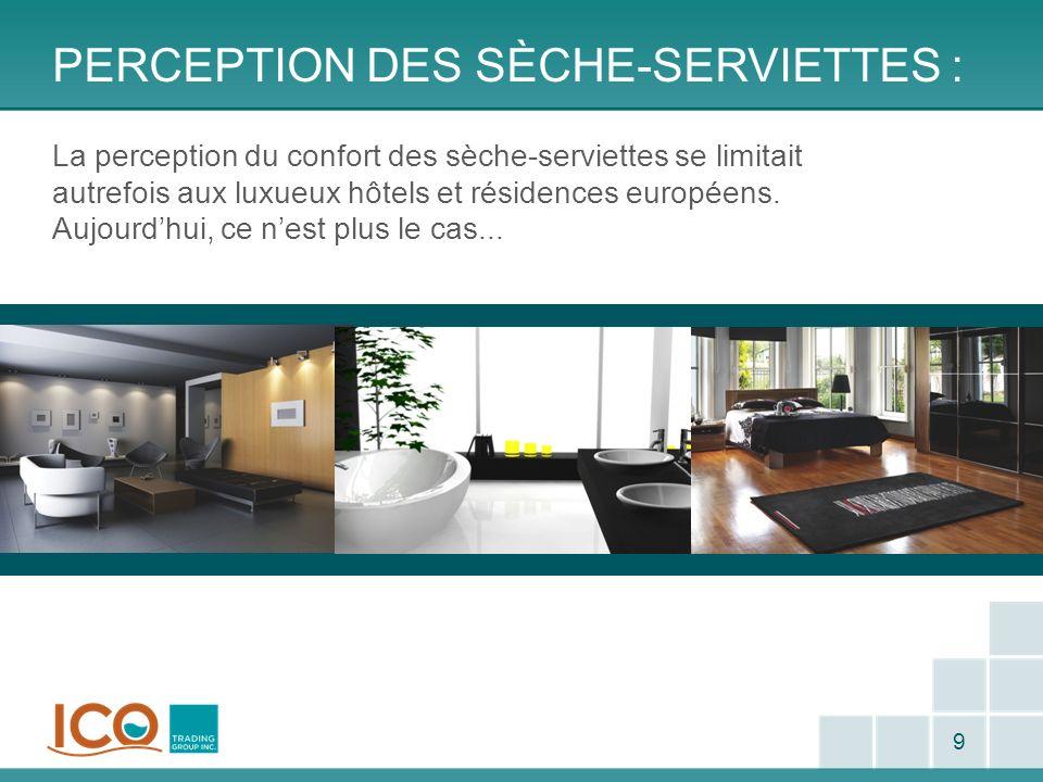 PERCEPTION DES SÈCHE-SERVIETTES : 9 La perception du confort des sèche-serviettes se limitait autrefois aux luxueux hôtels et résidences européens. Au