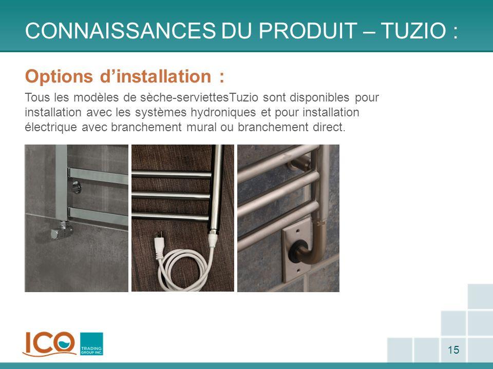 CONNAISSANCES DU PRODUIT – TUZIO : 15 Options dinstallation : Tous les modèles de sèche-serviettesTuzio sont disponibles pour installation avec les sy