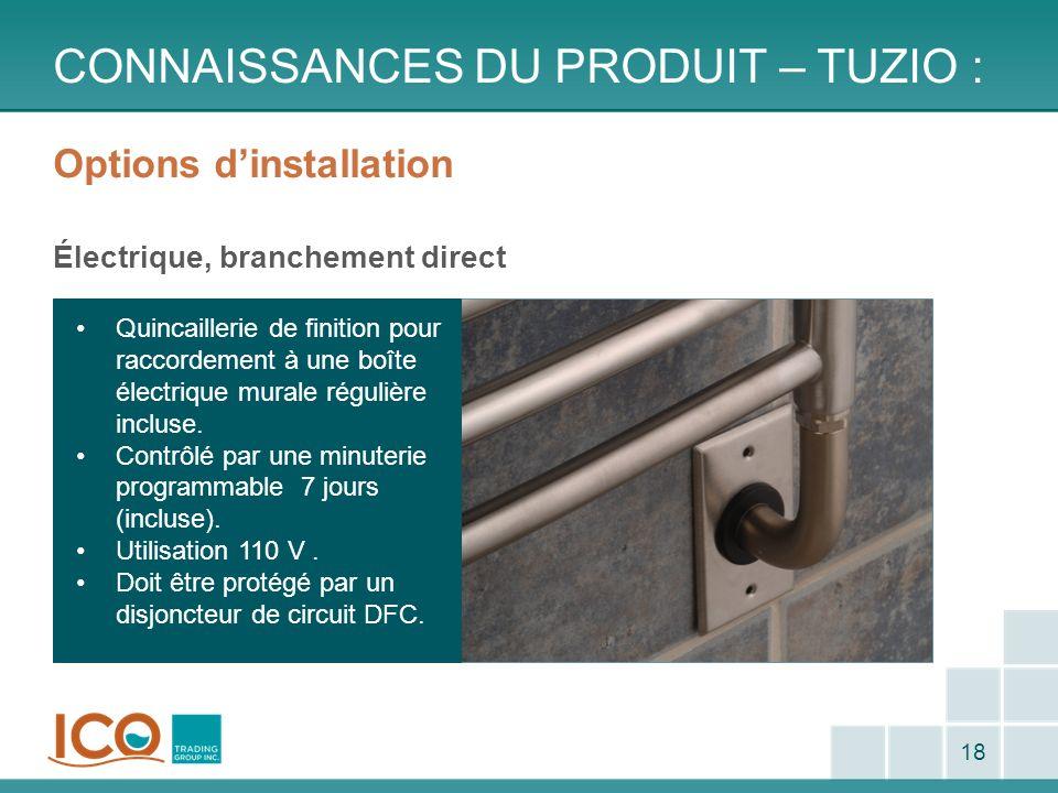 Options dinstallation Électrique, branchement direct CONNAISSANCES DU PRODUIT – TUZIO : 18 Quincaillerie de finition pour raccordement à une boîte éle