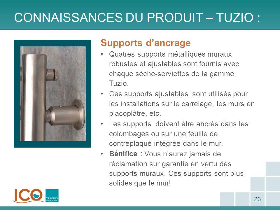 CONNAISSANCES DU PRODUIT – TUZIO : 23 Supports dancrage Quatres supports métalliques muraux robustes et ajustables sont fournis avec chaque sèche-serv