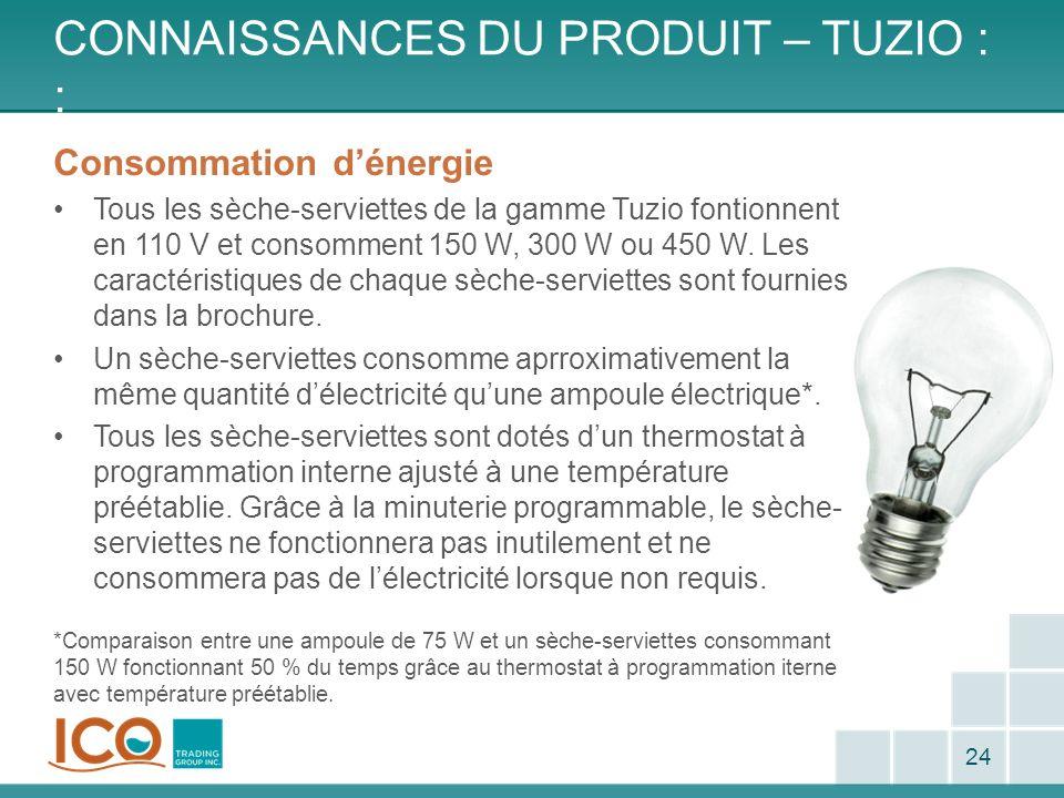 CONNAISSANCES DU PRODUIT – TUZIO : : 24 Consommation dénergie Tous les sèche-serviettes de la gamme Tuzio fontionnent en 110 V et consomment 150 W, 30