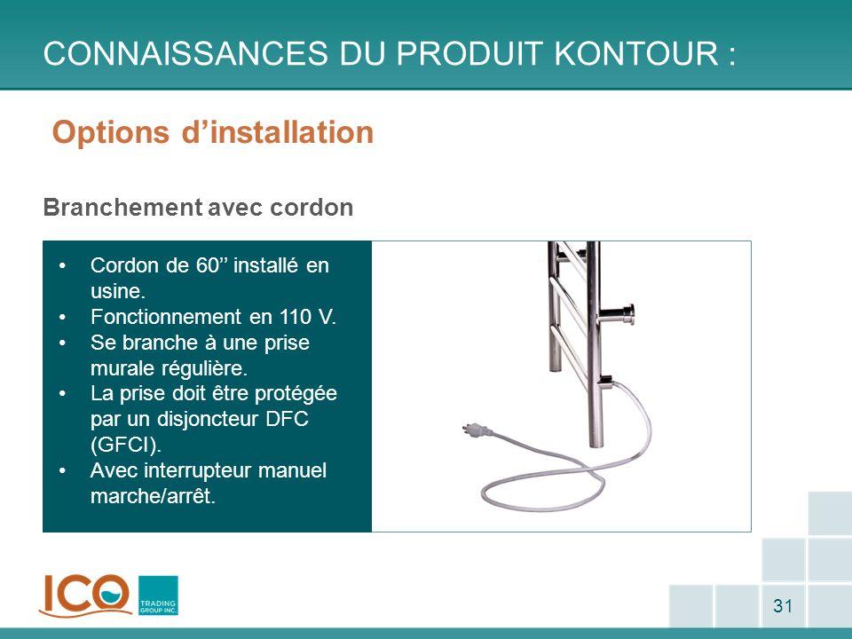Options dinstallation Branchement avec cordon CONNAISSANCES DU PRODUIT KONTOUR : 31 Cordon de 60 installé en usine. Fonctionnement en 110 V. Se branch
