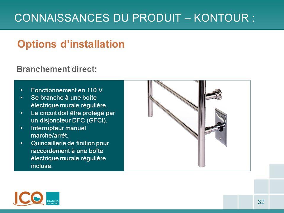 Options dinstallation Branchement direct: CONNAISSANCES DU PRODUIT – KONTOUR : 32 Fonctionnement en 110 V. Se branche à une boîte électrique murale ré