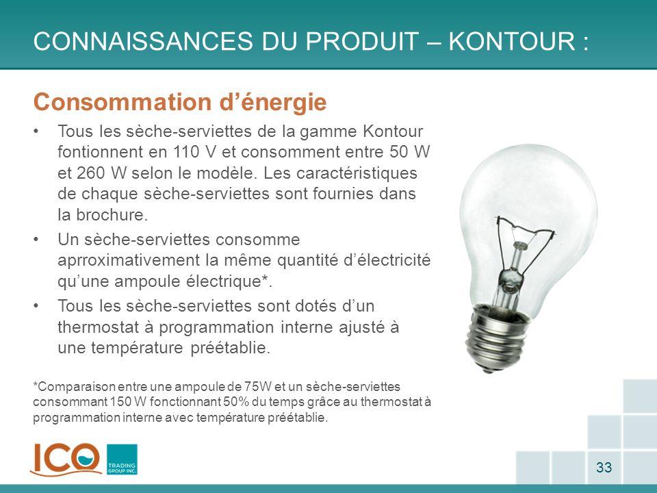 CONNAISSANCES DU PRODUIT – KONTOUR : 33 Consommation dénergie Tous les sèche-serviettes de la gamme Kontour fontionnent en 110 V et consomment entre 5