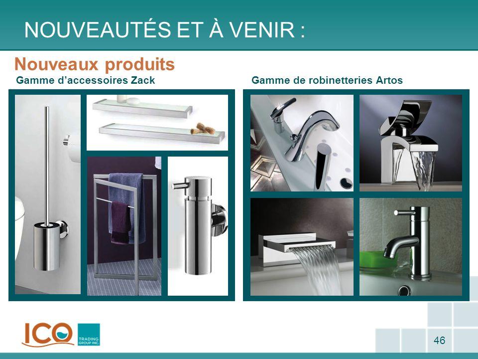 NOUVEAUTÉS ET À VENIR : 46 Nouveaux produits Gamme daccessoires ZackGamme de robinetteries Artos