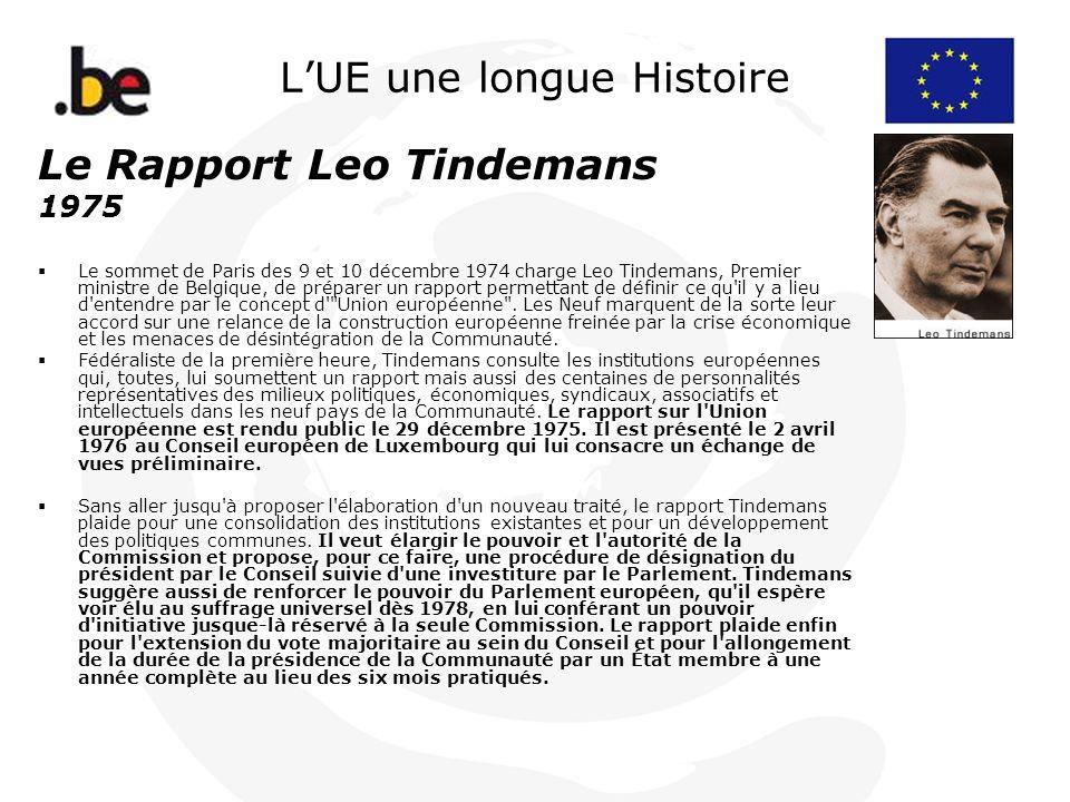 LUE une longue Histoire Le Rapport Leo Tindemans 1975 Le sommet de Paris des 9 et 10 décembre 1974 charge Leo Tindemans, Premier ministre de Belgique,