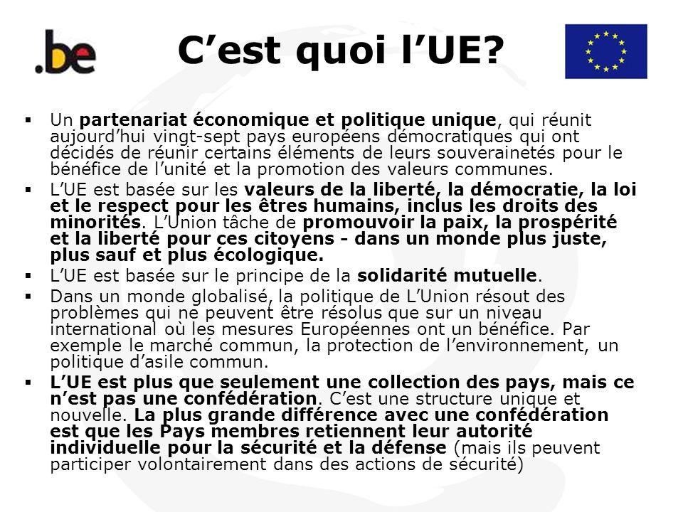 Cest quoi lUE? Un partenariat économique et politique unique, qui réunit aujourdhui vingt-sept pays européens démocratiques qui ont décidés de réunir